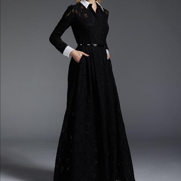 Carmen Marc Valvo Dresses | Longsleeve Lace Belted Gown | Poshmark